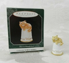Hallmark Christmas Ornament Alice in Wonderland Cheshire Cat 1998 Thimble - $15.83