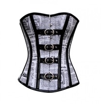 Newspaper Print Black PVC Leather Strips Waist Training Bustier Overbust... - $69.29+