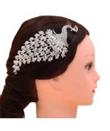 Chinese Silver Crystal Rhinestone Peacock Women Barrettes Hair Comb Head... - $11.10