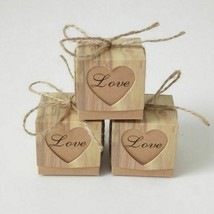 Gift Bag Heart Kraft Burlap Twine Wedding Favor 10Pcs Box Romantic Birthday Kit