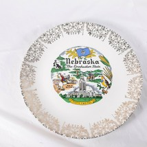 Nebraska Souvenir Plate Vintage Gold Trim - $14.00