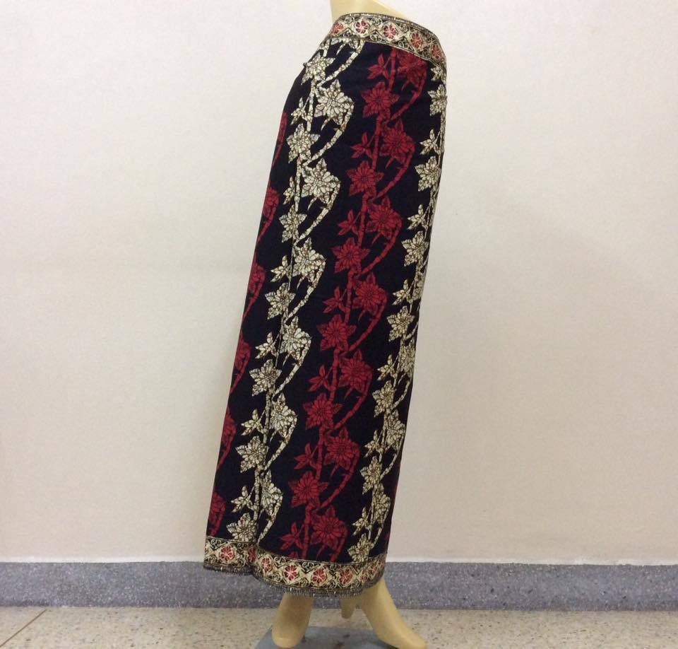 Womens Sarong Batik Pareo Skirt Floral Wrap Bamboo Flower Cotton Fabric Black #5