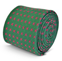 Frederick Thomas mens cotton linen tie in green with pink crosses FT3131