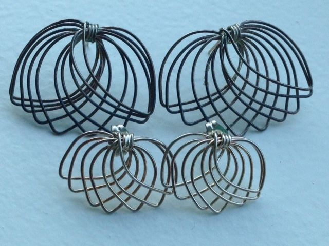 Primary image for  2 SIMILAR VINTAGE STERLING SILVER 14K GOLD EARRINGS LOTSET