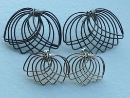 2 SIMILAR VINTAGE STERLING SILVER 14K GOLD EARRINGS LOTSET - $32.66