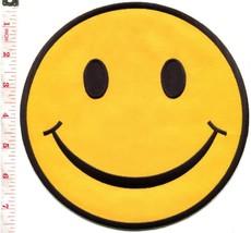 Smiley face retro boho hippie 70s applique iron-on patch XL 7.5 inches S... - £8.27 GBP