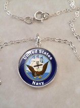 Sterling Silver 925 Necklace United States Navy - $30.50+