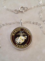 Sterling Silver 925 Necklace Marine Corps Veteran - $30.50+