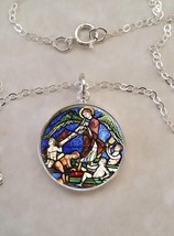 Sterling Silver 925 Necklace Medieval Stained Glass Church Art Angel - £21.88 GBP+