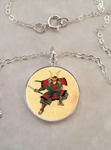 Sterling Silver 925 Necklace Samurai With Sword Japanese Warrior - $30.50+
