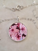 Sterling Silver 925 Necklace Nature Pink Cherry Blossoms Flowers - £23.18 GBP+