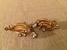 1960s Gold Toned Leaf and Rhinestone Earrings Screw Back Vintage Costume... - $19.75