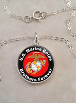 Sterling Silver 925 Necklace Brothers Forever USMC Marine Corps - $30.50+