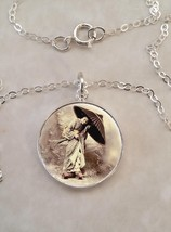 Sterling Silver 925 Necklace Japanese Vintage Geisha 芸者 Image Geiko Geig... - $30.50+