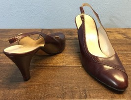 "Salvatore Ferragamo 8 B Slingback Brown Leather 3 1/4"" Heel Florence Italy - $75.06 CAD"