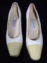 Womens ETIENNE AIGNER White Cream Leather Pumps... - $14.80