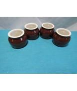 4 Mini Boston Bean Pot Brown Stoneware Crock Pottery non branded - $19.87