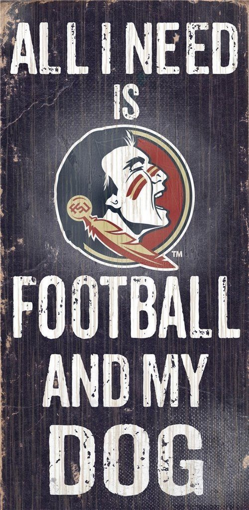 "FLORIDA STATE SEMINOLES FOOTBALL and my DOG WOOD SIGN & ROPE 12"" X 6""  MAN CAVE!"