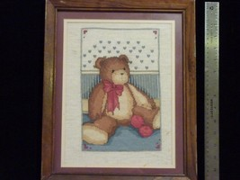 Teddy Bear Cross Stitch Finished Matted & Frame... - $19.67