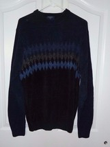 Dockers Mens Size LARGE Sweater Crew Neck Navy Blue and Black Diamond Chest - $12.58