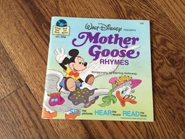 Mother Goose Rhymes Walt Disney See Hear Read Book and Record 1979  #312 - $11.29