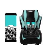 PERSONALIZED BABY TODDLER CAR SEAT STRAP COVERS STROLLER BLACK DAMASK BL... - $14.68