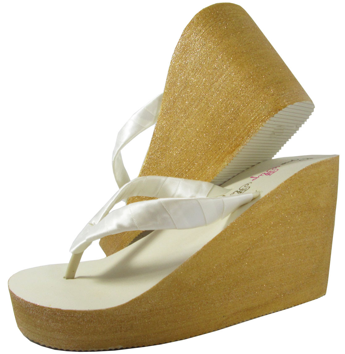 Color Wedge Flip Flops, Gold  Champagne Glitter White -7662