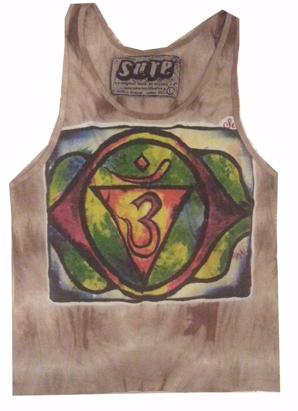 Yoga Men TOP SLEEVELESS shirt Chakra Meditation Hindu Ganesha M cotton om New