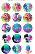 """15 Precut 1"""" Trolls Jewelry Bottlecap Crafts Images Cake Toppers - $2.99"""