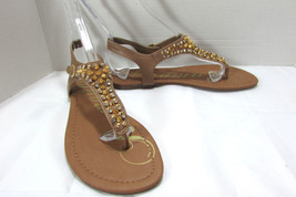 Rampage Beige Jeweled Thong Sandals Size US 9 M - $22.76