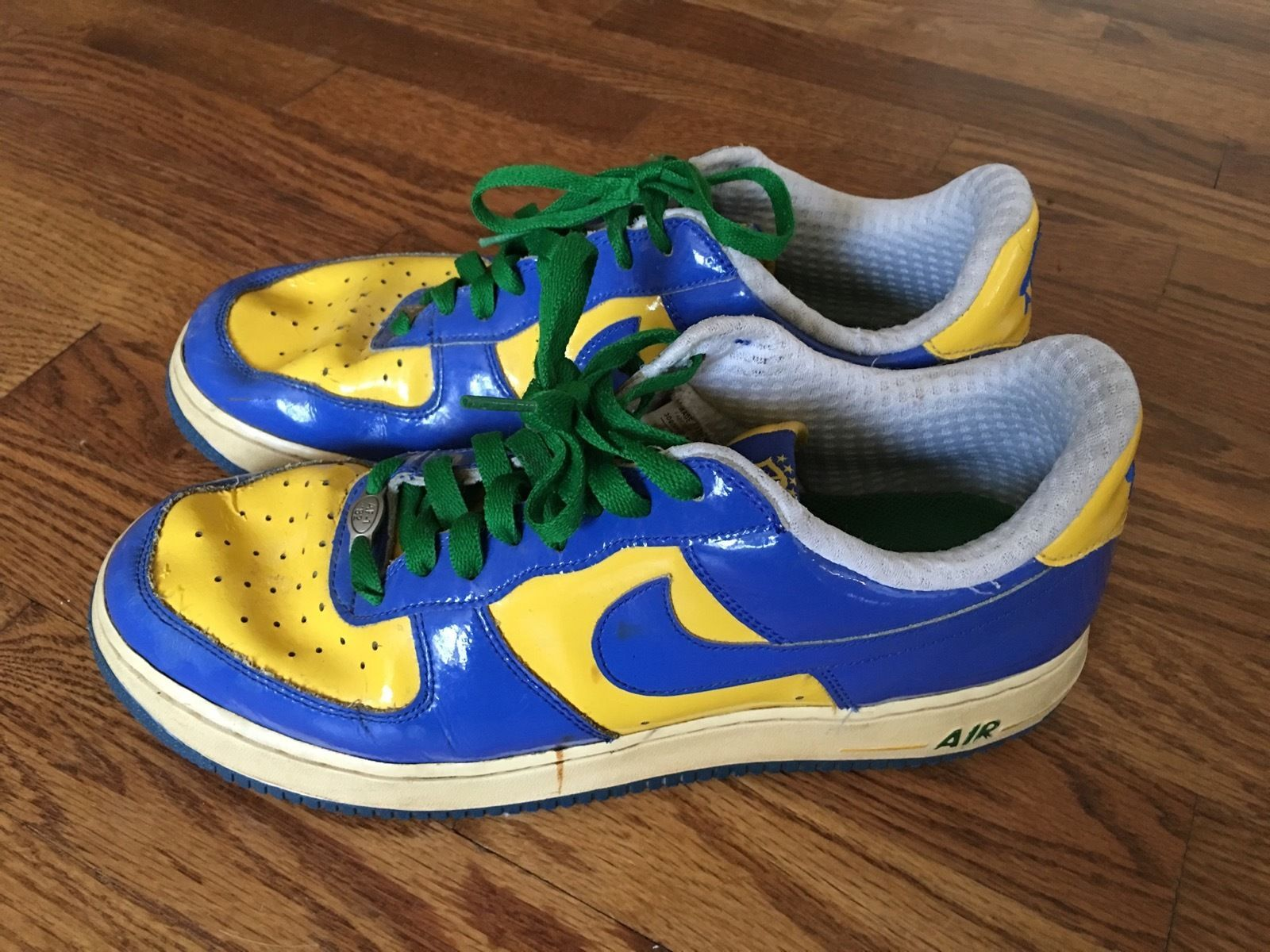 finest selection 45e88 65d2b 2006 Mens Nike Air Force 1 Brasil World Cup Tennis Shoes Blue Yellow Sz US  10.5