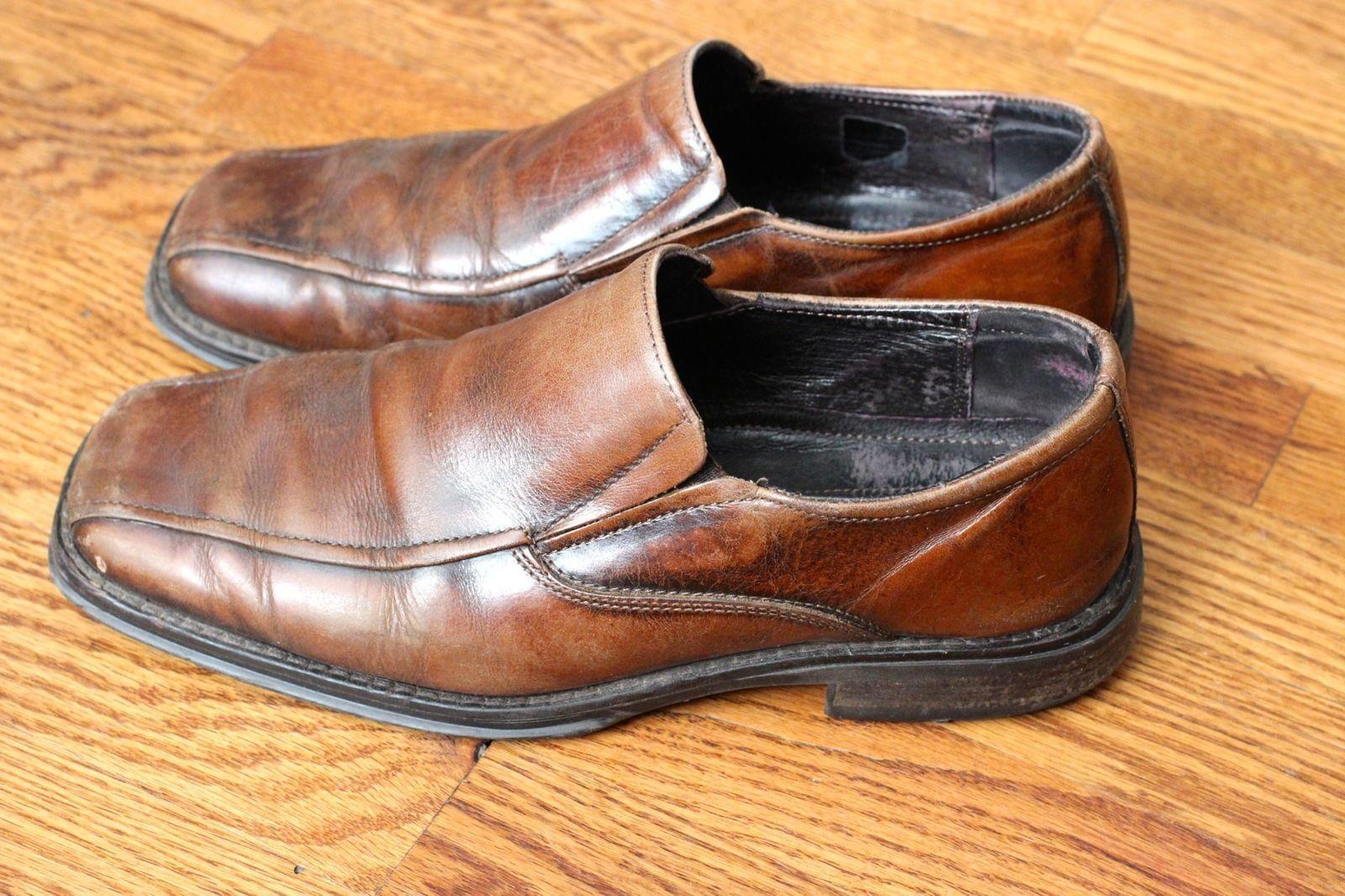 mens aldo brown dress shoes slip on loafers size 40 7 7