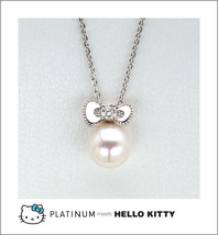 Hello Kitty Diamond Pearl Pendant Necklace Platinum 900  Sanrio Japan NE... - $985.05