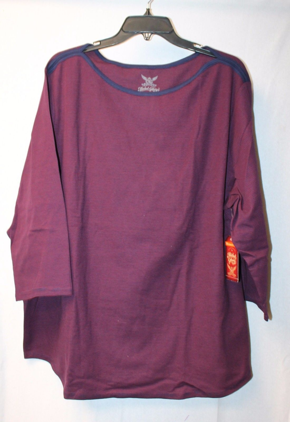 65178786 S l1600. S l1600. Previous. NEW FADED GLORY WOMENS PLUS SIZE 4X 26W 28W  PURPLE BOATNECK STRIPED TEE SHIRT