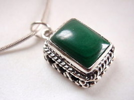 Malachite Rectangle 925 Sterling Silver Necklace India - $266,73 MXN