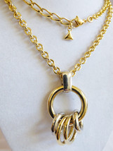 "LC Fashion  Liz Claiborne Gold tone ring circle charms pendant  Necklace 35""L - $29.45"