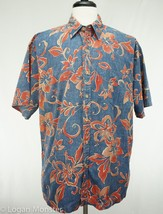 Cooke Street XL Extra Large Hawaiian Shirt Reverse Print Blue Red Hibiscus - $29.64