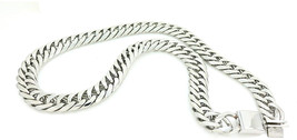 Solid Silver Finish Stainless Steel 21mm Thick Miami Cuban Link Chain 30... - $241.27