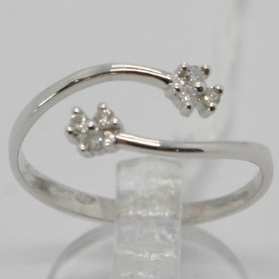 WHITE GOLD RING 750 18K, OPEN, DOUBLE FLOWER WITH DIAMONDS CARAT 0.09, ITALY