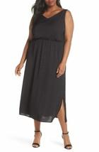 VINCE CAMUTO Rumple Satin Blouson Midi Dress,BLACK 1X MRSP$134.00 - $26.73