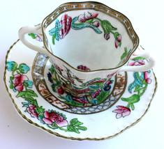 Tea Cup Saucer England Leadless China Floral COALPORT Crown Vintage Gold... - $29.95