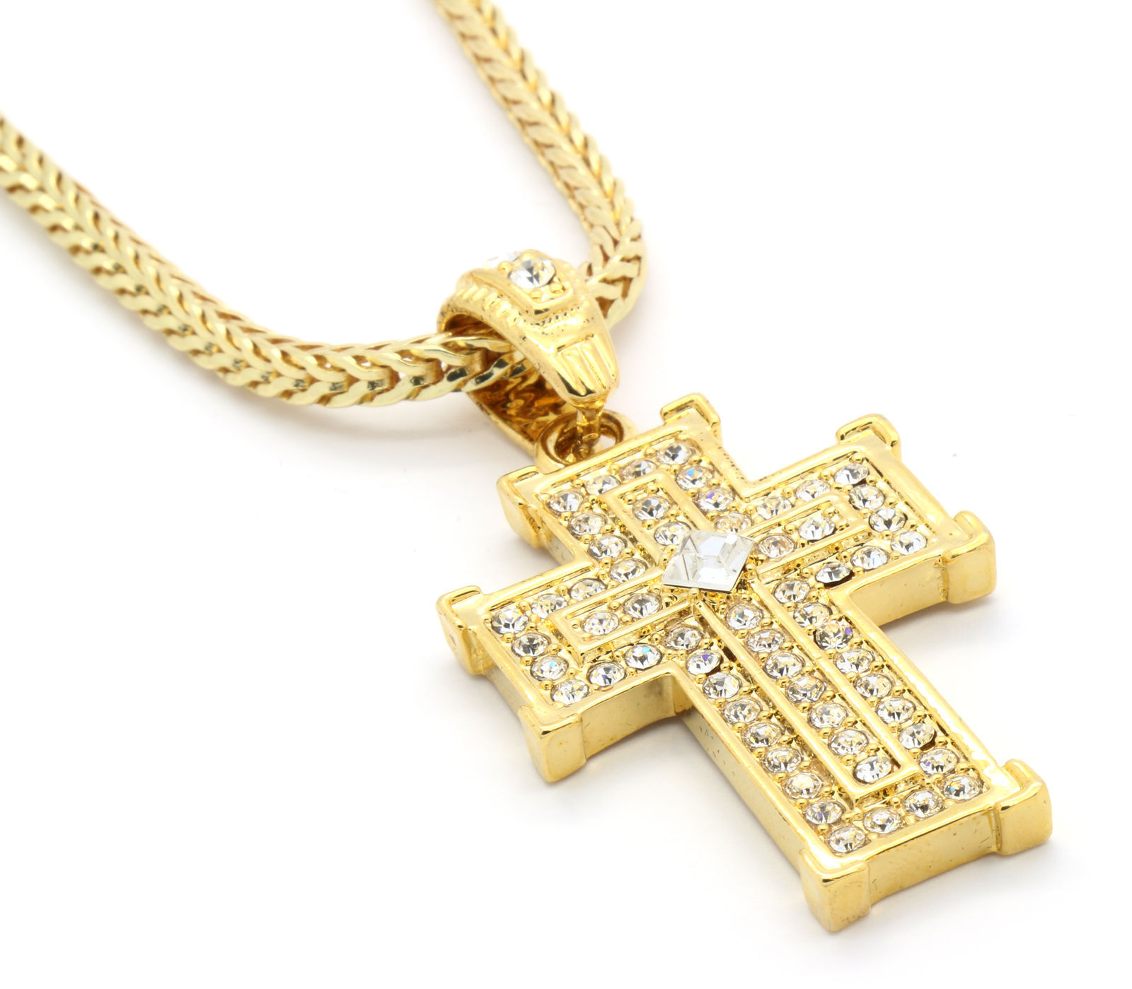 yellow wheat chain square necklace braided pendant with crucifix amazon cross com jewelry dp gold