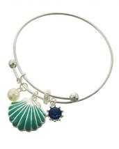 Sea Life Enamel Adjustible Shell Charms Silver Tone Bangle Bracelet - $19.00