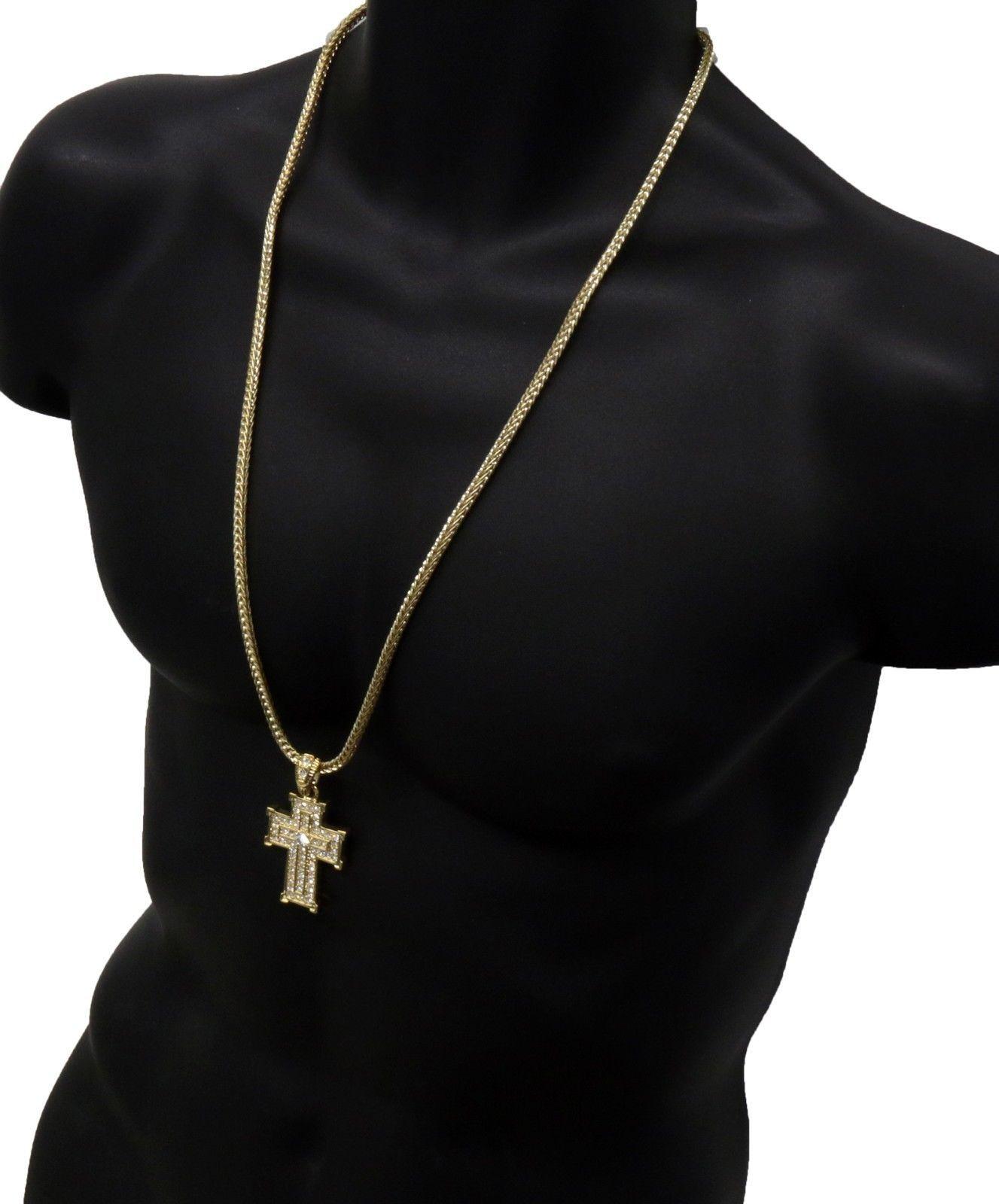 Mens 14k Gold Cz Square Cross Pendant Hip Hop 30 Inch Franco Necklace Chain