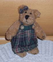 "Boyds Plush 6"" Archive Series 1990-1997 Green Plaid Romper Lady Bear - $4.89"
