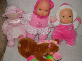 Baby First Rattle Baby Doll, Kids Preferred Doll Set 3 Baby Dolls & A Gi... - $9.00