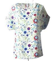 Womens Chiffon Casual Short Sleev Blousee Loose Flow Circles Pattern L 6-8 - $5.88