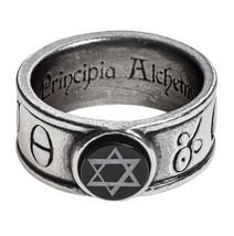 Principia Alchemystica Talisman Ring Onyx Solomonic Seal Alchemy Gothic R229 New - $25.84