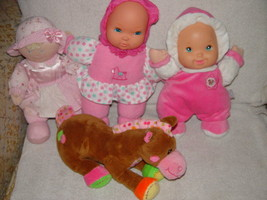 Baby First Rattle Baby Doll, Kids Preferred Doll Set 3 Baby Dolls & A Giraffe image 2