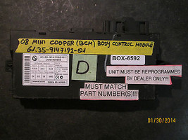 08 Mini Bcm Body Control Module #6.135 9147192 01 *See Item Description* - $117.80